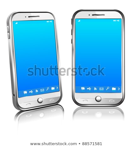 Cell Smart Mobile Phone White 3D and 2D Stock photo © fenton