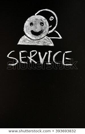 klantenservice · menselijke · krijt · Blackboard · gezicht - stockfoto © bbbar