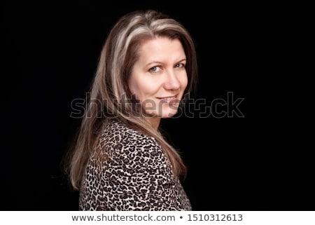 közelkép · portré · bájos · barna · hajú · nő · gyapjú - stock fotó © hasloo