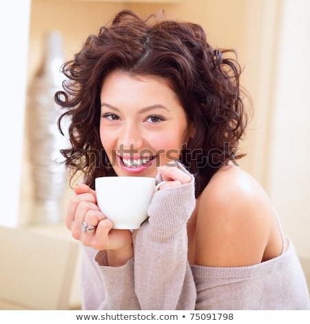 genç · kadın · ev · çay · kahve · fincan · ev - stok fotoğraf © HASLOO