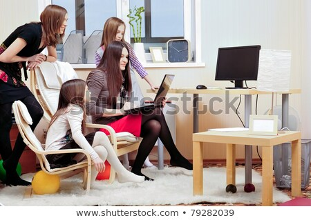 portrait of happy family of only girls of different ages stock photo © hasloo