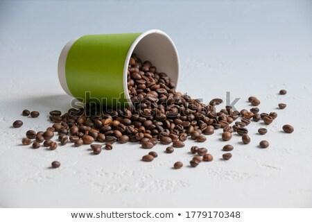 grains · de · café · isolé · blanche · fèves · ensemble - photo stock © kacpura