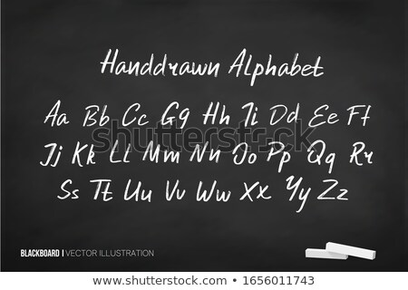 english alphabet handwritten with white chalk on a blackboard stock photo © bbbar