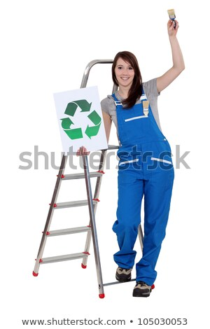 женщину Recycle логотип кистью дома краской Сток-фото © photography33