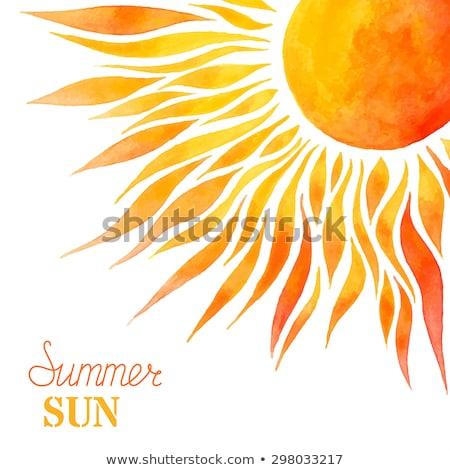 Suluboya yaz güneş el yapımı beyaz Stok fotoğraf © Galyna