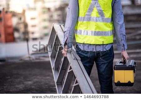 Arbeitnehmer Werkzeugkasten Mann Arbeit home Gläser Stock foto © photography33