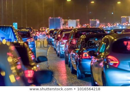 Stock fotó: éjszaka · forgalom · városi · út · farok · fények