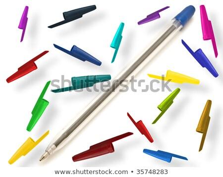 Multicolored ballpoint pens against the white background Stock photo © SRNR