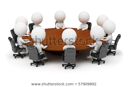 Stock photo: 3d small people - session behind a round table