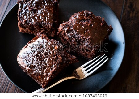 Delicious Piece Of Moist Chocolate Cake With Coffee Stock photo © stuartmiles