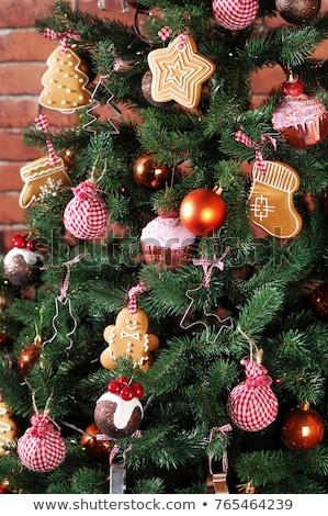 Tree present sock shape cookies as Christmas tree decoration stock photo © 3523studio