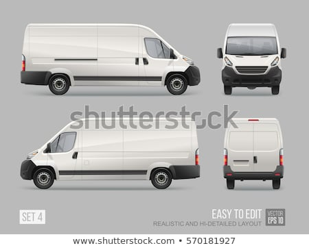 Vector illustration of grey truck Stock photo © leonido