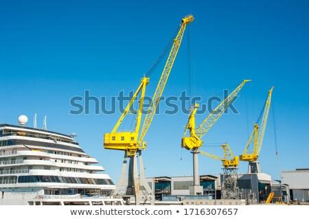 silhuetas · nublado · céu · trabalhar · navio · industrial - foto stock © lebanmax
