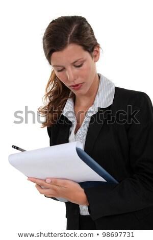 Adminisztrátor tart vágólap nő haj öltöny Stock fotó © photography33