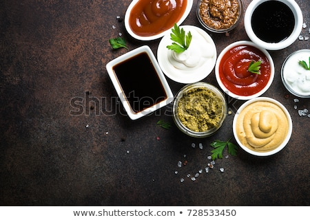Ketchup szójaszósz üveg mártás csónak közelkép Stock fotó © zhekos