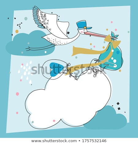 blue bird with a ballon for text Stock photo © experimental
