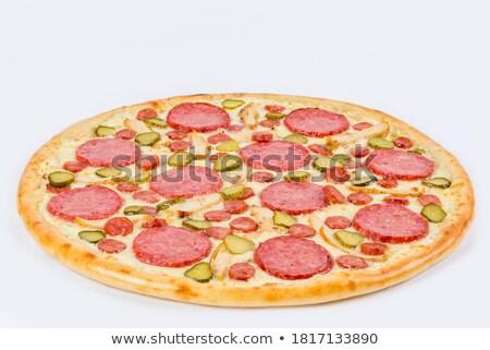 Сток-фото: колбаса · овощей · красный · перец · стороны