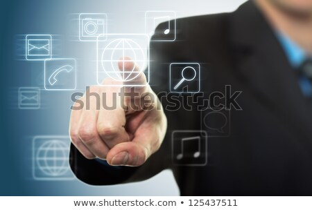 businessman pressing application button stock photo © vlad_star