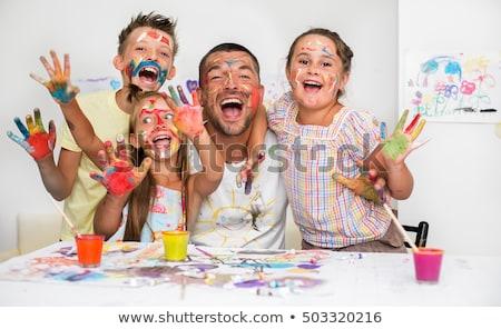 óvoda · gyerekek · festmény · papír · festék · művészet - stock fotó © photography33