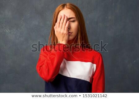 Fiatal nő kezek fej férfi kommunikáció nyakkendő Stock fotó © photography33