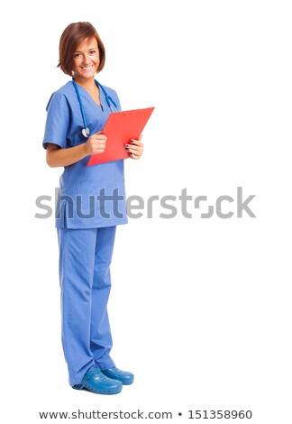 Сток-фото: медицинской · медсестры · изолированный · длина · зеленый
