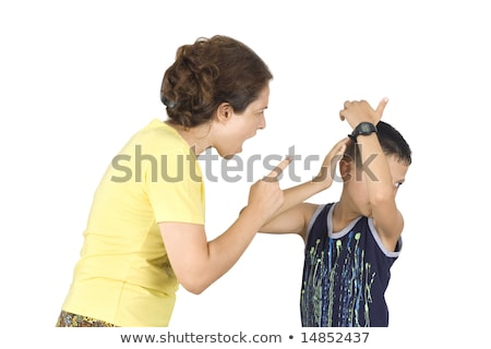 Boy confronts his mother isolated on white background  Stock photo © dacasdo