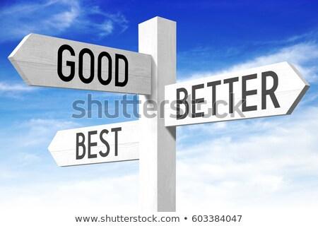 Placa sinalizadora palavras blue sky nuvens assinar Foto stock © Quka
