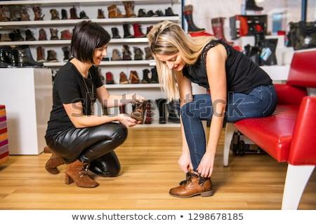 két · nő · cipők · butik · üzlet · nő · mosoly - stock fotó © wavebreak_media