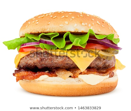 Hamburguesa con queso aislado blanco pan queso carne Foto stock © ozaiachin