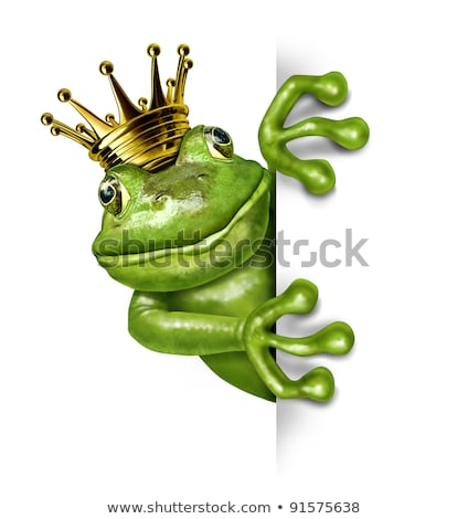 Foto stock: Frog Prince With Gold Crown Holding A Blank Sign