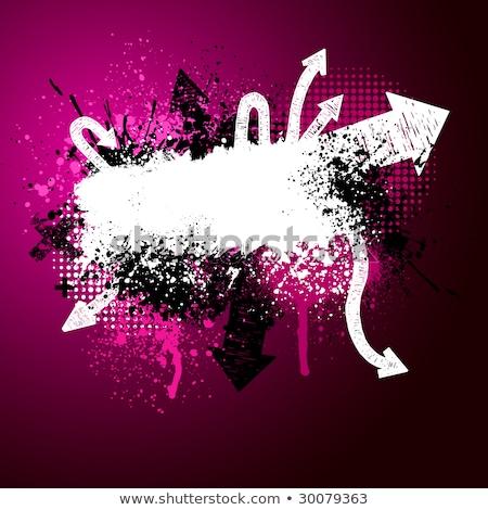 Stockfoto: Roze · pijl · verf · splatter · zwart · wit · grunge