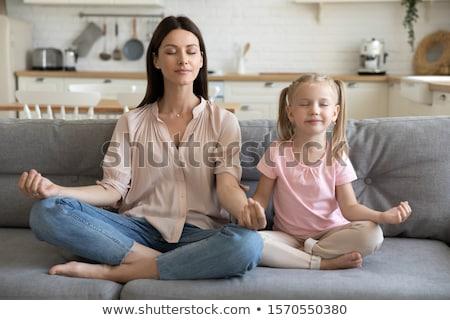Nő lélegzet irányítás jóga póz fiatal gyönyörű nő Stock fotó © rognar