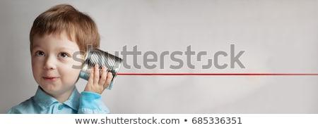 jonge · kind · tin · kan · telefoon · grijs - stockfoto © gewoldi