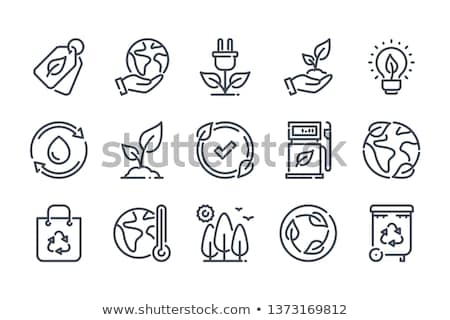 Green earth icons Stock photo © carbouval