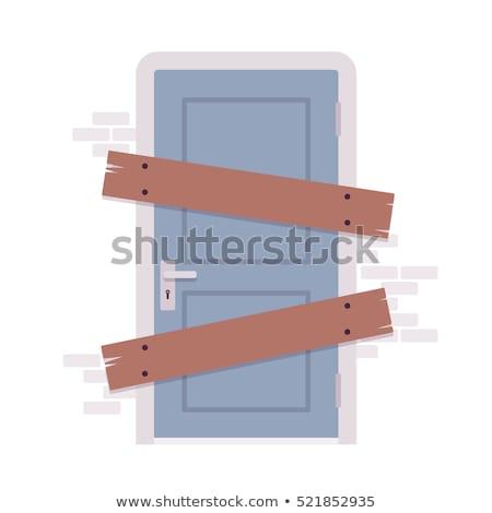 Zamknięty drzwi opuszczony domu ściany Zdjęcia stock © sirylok