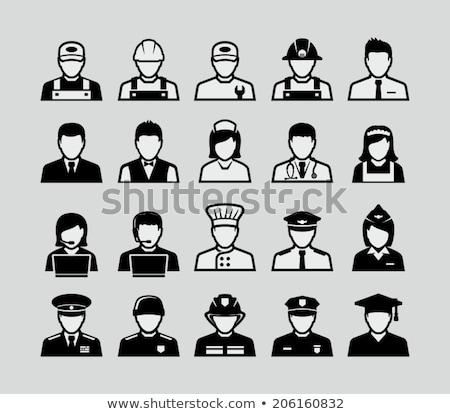 conjunto · polícia · doze · preto · ícones - foto stock © carbouval