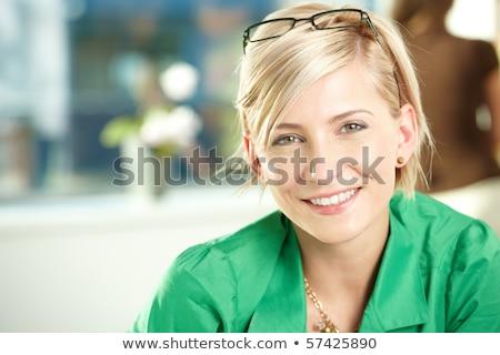 Vrolijk zakenvrouw permanente witte Stockfoto © stepstock