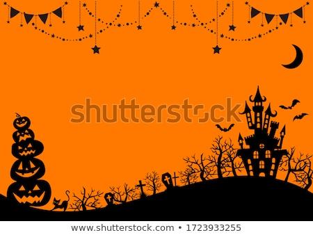 Stock photo: Happy halloween background, black bats. vector illustration