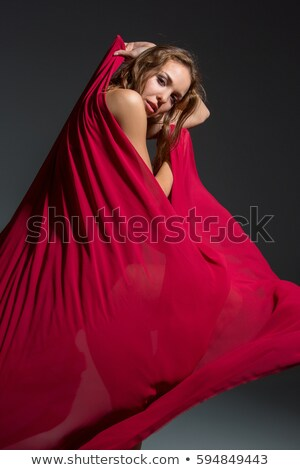 Esnek kadın kırmızı elbise çizgili model yaz Stok fotoğraf © vetdoctor