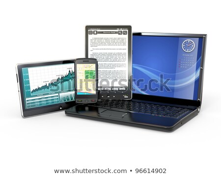 illustration of portable device with graphs Stock photo © alexmillos