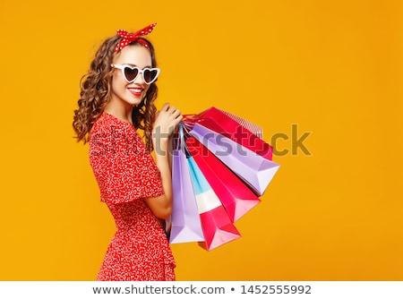 boldog · figyelmes · vörös · hajú · nő · nő · fürdőköpeny · portré - stock fotó © lithian