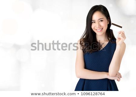 Iş kadını kredi kartı portre kız gülümseme Stok fotoğraf © dukibu