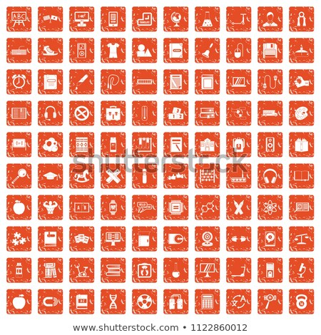 tv set icon on orange puzzle stock photo © tashatuvango