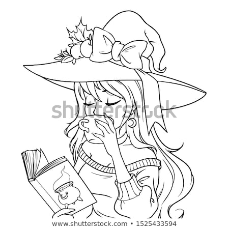 Halloween cute kawaii libro libro para colorear blanco negro Foto stock © Ansy