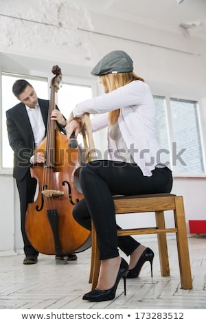 Backwards on wooden chair woman at studio Stock photo © vetdoctor