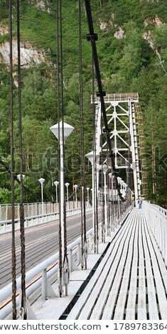 Oude hangbrug boven schorsing weg brug Stockfoto © Aikon