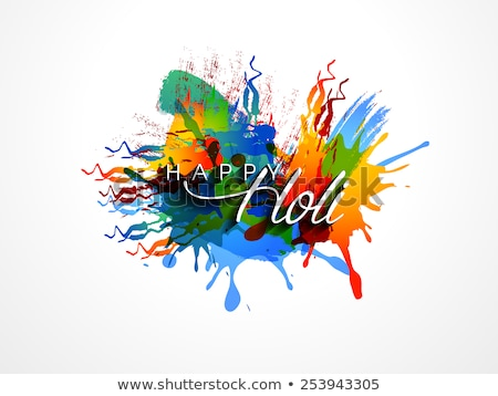 holi festival colorful grunge with gulal design vector stock photo © bharat