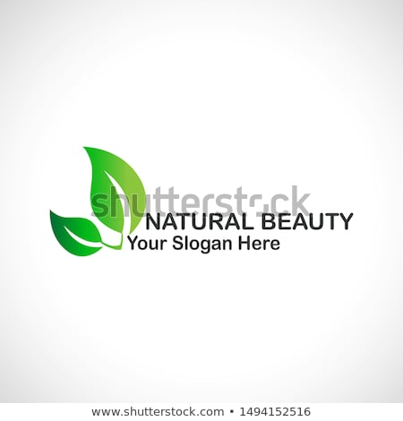 hair with green leaves  organic hair product logo stock photo © shawlinmohd