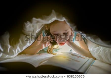 lány · elemlámpa · kép · éjszaka · félő · szellemek - stock fotó © adam121