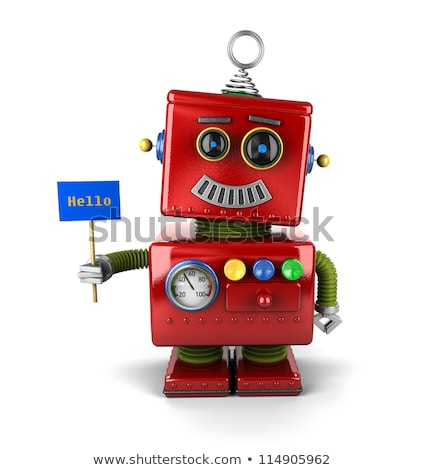 robot holding hello sign technology concept stock photo © kirill_m